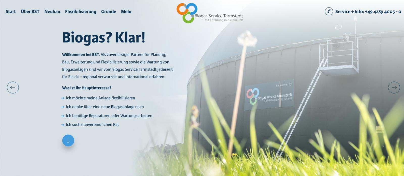 Biogasanlage auf der Startseite der Website des Biogas Service Tarmstedt (BST)